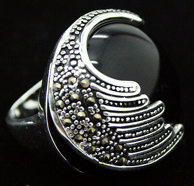 RARE AGATE STERLING SILVER 92.5 RING GEMSTONE VINTAGE VINTAGE RING SZ 7/8/9/10