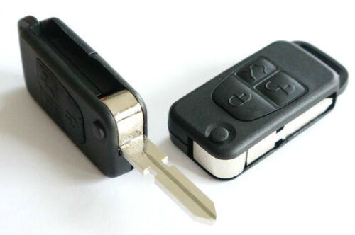 For Mercedes A C E S Class 3 Button Remote Flip Key Case Shell /& Blade HU39