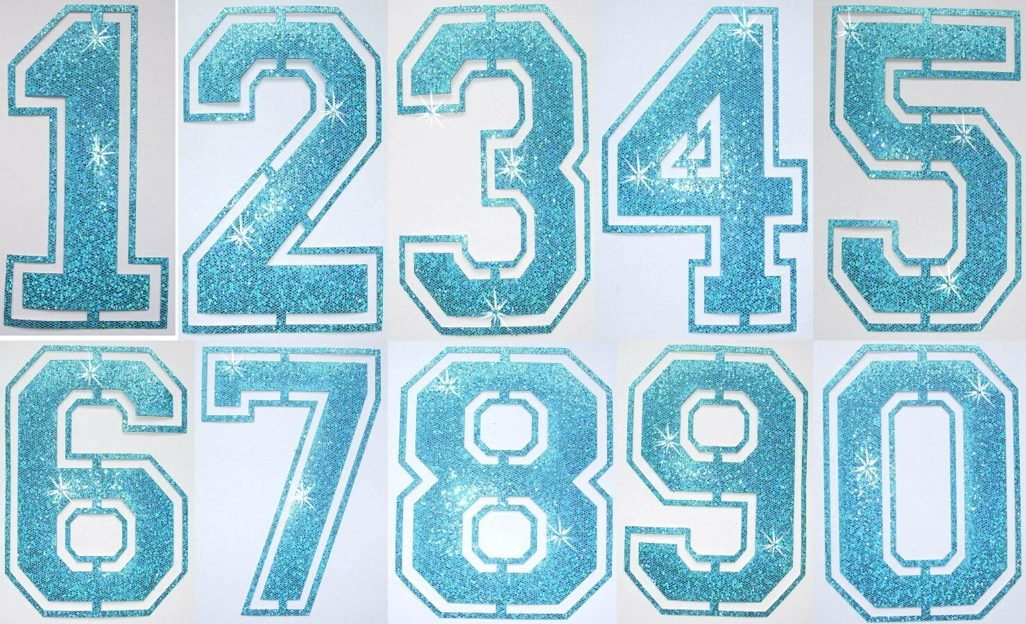 FABRIC GLITTER SEQUIN BLUE FOOTBALL NUMBER IRON-ON BLING TSHIRT TRANSFER PATCH