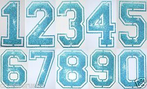 FABRIC-GLITTER-SEQUIN-BLUE-FOOTBALL-NUMBER-IRON-ON-BLING-TSHIRT-TRANSFER-PATCH