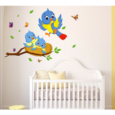 6400017   Wall Stickers Happy Birds Family Wall Decor For Kids Room