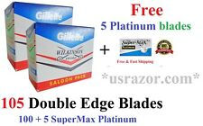 100 Saloon GILLETTE WILKINSON Double Edge Blades Safety Razor+5 FREE SM Platinum