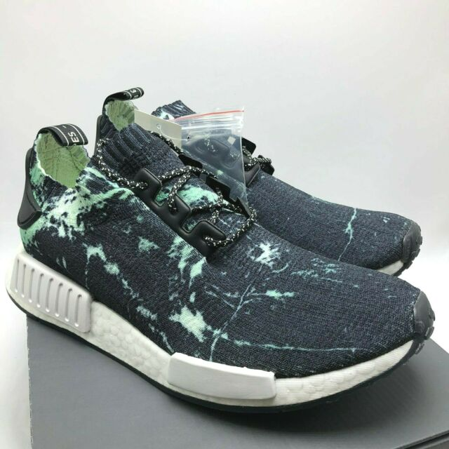 best website f1911 94a09 adidas NMD R1 PK Marble Mens BB7996 Aero Green Black Primeknit Shoes Size 12