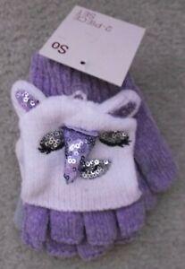 2 Pack Girls Mitten Gloves One Size