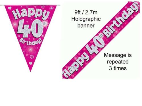 40th BIRTHDAY PINK FOIL BANNERS AND BUNTING ****OFFER BOTH ITEMS FOR £2.99****