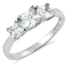 .925 Sterling Silver Ring size 4 CZ Engagement Wedding Fashion Ladies New pv25