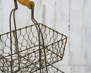 Primitive-country-style-rustic-brown-wire-tiered-basket-stand-caddy-with-handle