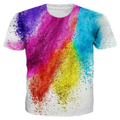 Tie Dye Colorful Painting Men Women Casual T-Shirt Short Sleeve Graphic Tee Tops