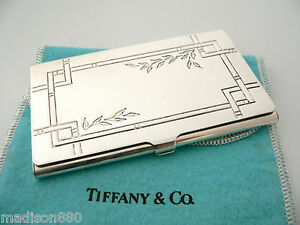 hot sale online 32ae8 4f9af Details about Tiffany & Co Silver Nature Bamboo Leaves Business Card Case  Holder Rare w/ Pouch
