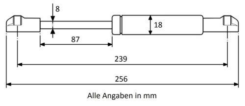 Ausführung wählbar Gasdruckfeder Gasduckdämpfer Kugelkopfaufnahme Kunststoff