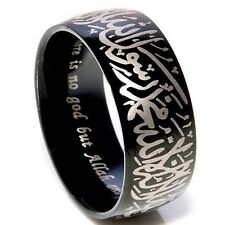 Islamic Ring Allah Arabic Aqeeq Shahada Arabic God Messager Stainless Steel Band