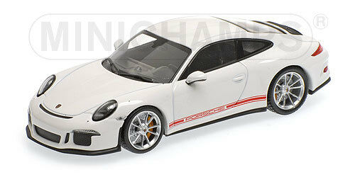 Porsche 911 R  White with red writing  2016 (Minichamps 1 43   410 066221)