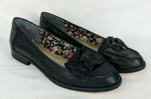 Seychelles-Women-039-s-Shoes-Size-8-Leather-Black-Loafers-Slip-On-Moccasin-Stud-Bow