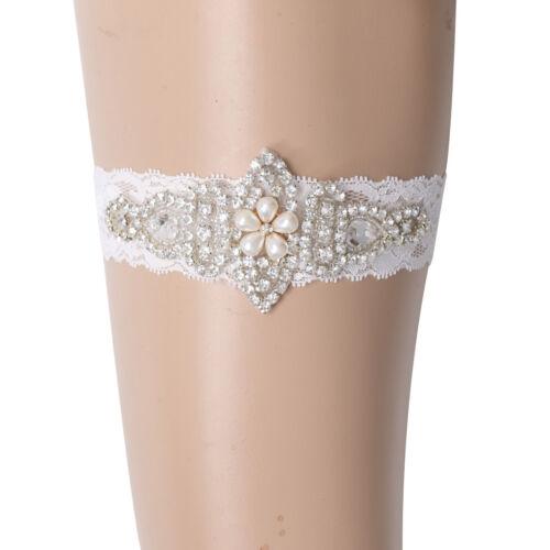 Women White Lace Rhinestone Bridal Garter Wedding Accessories
