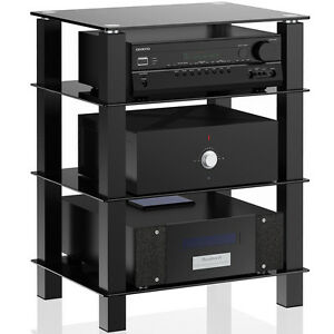stereo component cabinet 4 tier media component stand audio cabinet with glass 26794