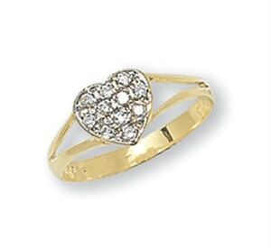9ct-Yellow-Gold-Solid-Baby-Children-039-s-Cubic-Zirconia-Heart-CZ-Signet-Ring-NEW