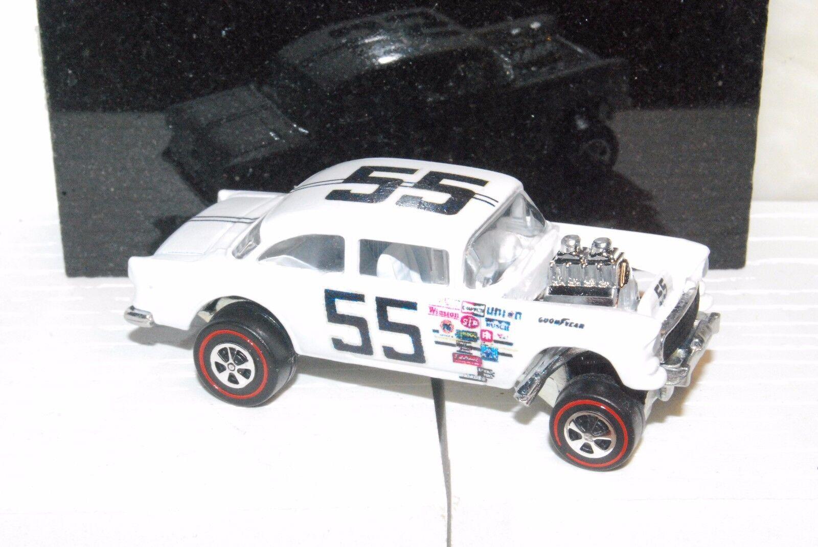 55 Chevy Bel Air Gasser Hot Wheels Redline Spoiler-ized White