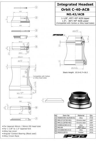 "FSA NO.42//ACB ORBIT C-40 ACB 1-1//8/""--1.5/"" IS42 IS52 Threadless Headset Black"