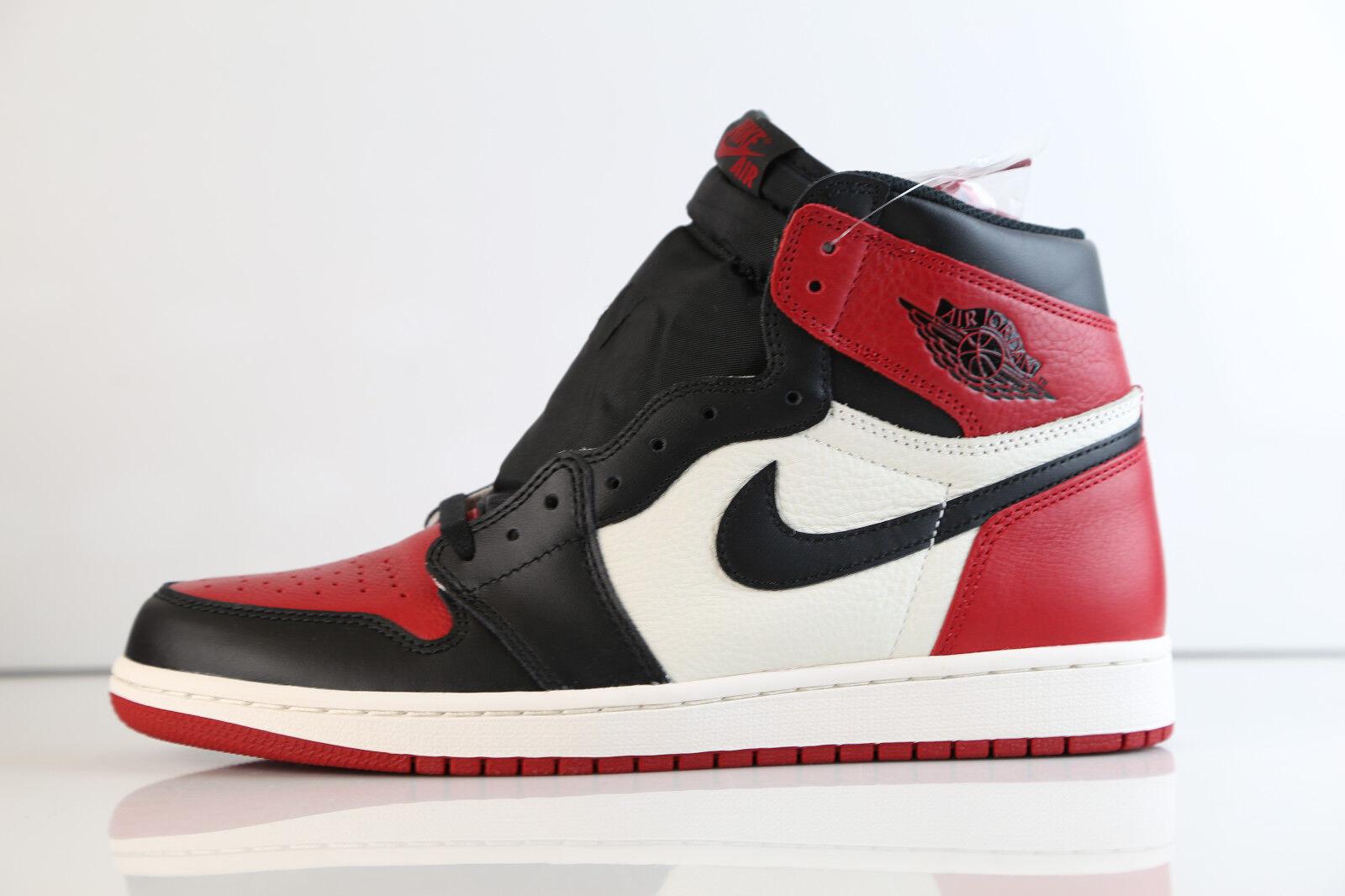 Air Jordan Retro 1 High OG OG OG Brosso Toe nero Summit bianca rosso 555088-610 8-12 8916e0