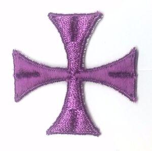Maltese-Quadrato-Stola-Croce-Ricamato-2-034-da-Cucire-Purple-C-Emblema-Toppa-12