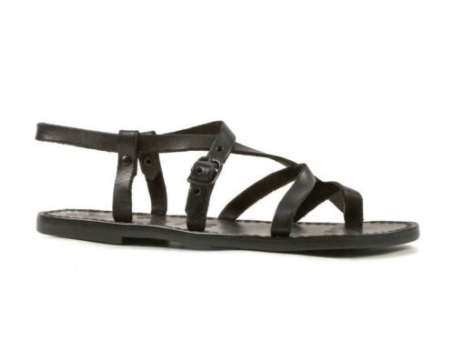 Womens black strappy thong slave sandals handmade in cuir leather