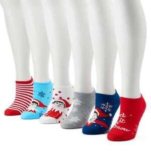 Elf On The Shelf Shoe Liner Socks 3 Pack Girls Ladies 4-8  Christmas LAST SET!