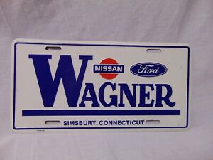 Wagner-Nissan-Ford-White-metal-license-Plate-12-034-x-6-034-Simsbury-Connecticut