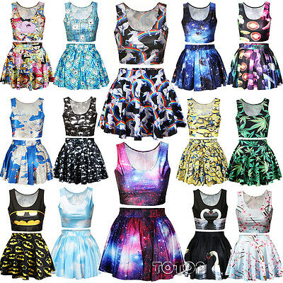 Women's Girls Crop Tops / Skirt Vest High Waist Mini Dress Cartoon Print Costume