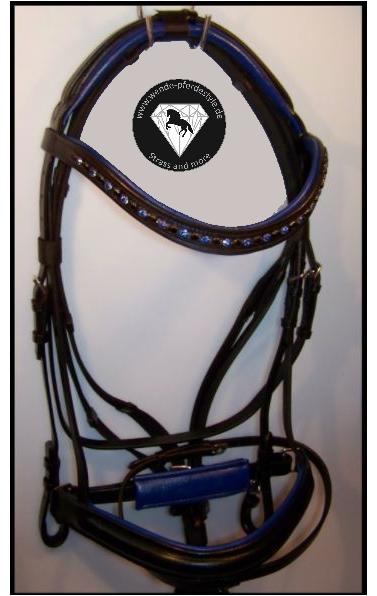 Schwarze Trense blau unterlegt Strass blau + schwarz + blau Zügel VB NEU anatomisch 255a20