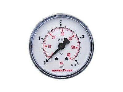 Ø 50mm Manometer 0-4 Bar Gewinde G 1/4 Zoll Hansa Flex Druckanzeige Hinten