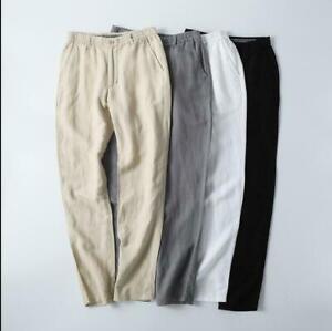 Mens-Casual-Elastic-Waist-Cotton-Linen-Pants-Trousers-Casual-Fit-Outdor-sz-M-5XL