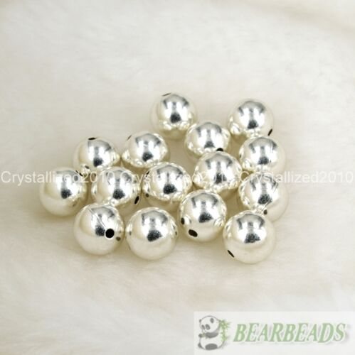 Vente en gros plaqué argent sur cuivre perles rondes 4 mm 6 mm 8 mm 10 mm 12 mm 14 mm 16 mm