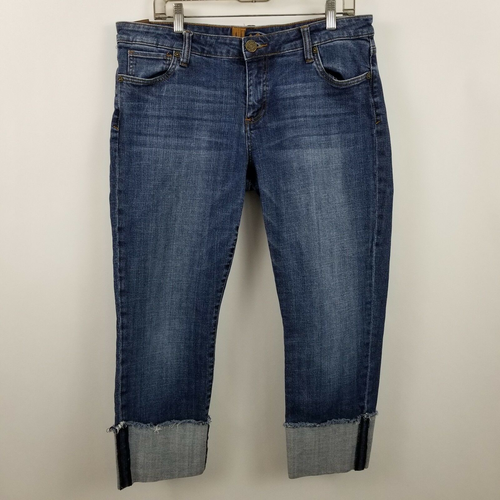 Kut From The Kloth Rolled Up Boyfriend Womens Dark Wash bluee Jeans Size 12