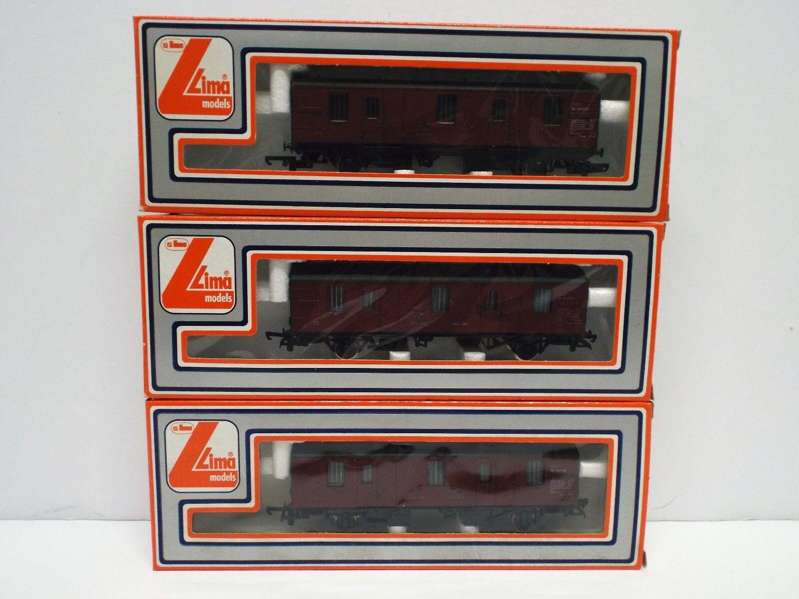 LIMA 305357 RAKE OF 3 X CCT PARCELS PARCELS PARCELS WAGONS MAROON EXCELLENT scatolaED (C408) c3dc4c
