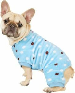 NEW-Blue-with-Polka-Dots-Soft-Fleece-Pajamas-Sleepwear-Dog-Clothes-Pick-Size