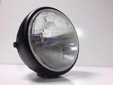 "Motorcycle Headlight 8"" Black Shell Side Mount w/ Light Cafe Chopper Bobber"