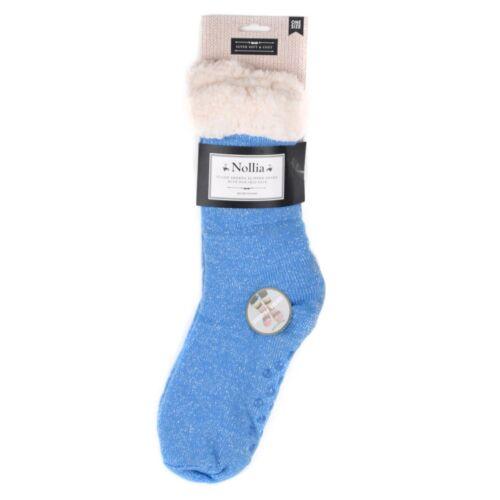 Womens Sherpa Socks Winter Fleece Lined BLUE SPARKLY Non Skid Indoor Slipper