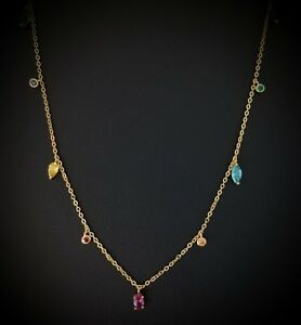 14k-Yellow-Gold-Over-925-Sterling-Silver-Red-Ruby-amp-Multi-Gem-Station-Necklace