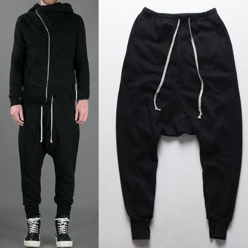 Mens Sport Dance Baggy Hip Hop Low Drop Credch Pants Harem Jogging Trousers D412
