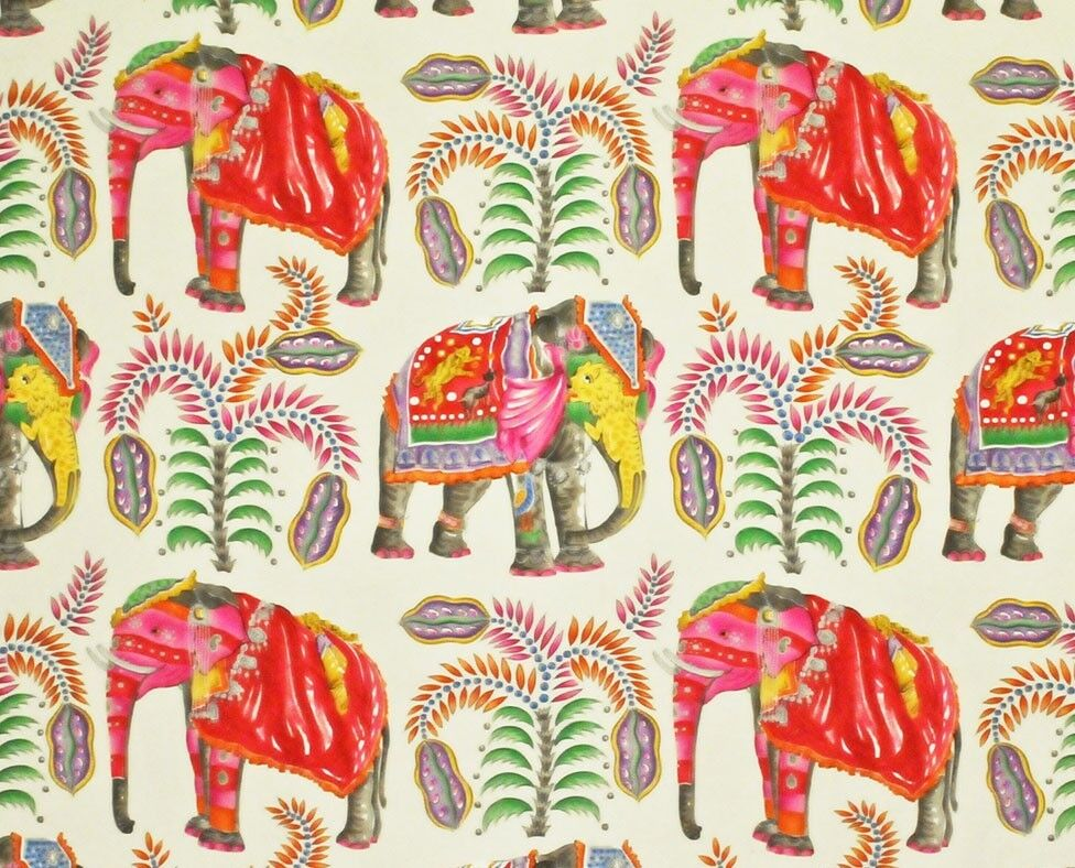 Whimsical Elephants & Palm Trees fabric in cream by