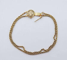 """Slide Rope Chain Bracelet w/ Floral Filigree Clasp - 14K Yellow Gold - 7.25"""""""