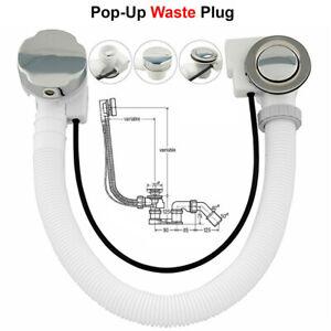 Concealed-Bath-Overflow-Pop-Up-Plug-Waste-amp-Twist-Chrome-Handle-and-Plastic-Pipe