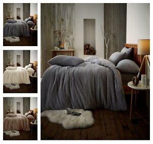 TEDDY-BEAR-Fleece-Duvet-Cover-PillowCase-Bedding-Set-Or-Fitted-Sheet-Warm-amp-Cozy