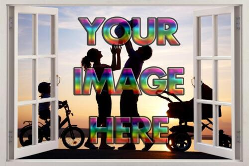 Personalised Any Image 3D Window View Decal Graphic WALL STICKER Art H117