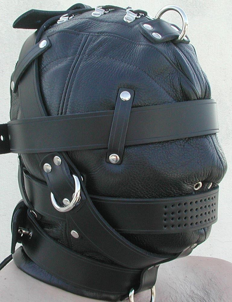100% Pure Leather bondage Heavy Duty Leather Hood