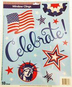 Window-Clings-Celebrate-Patriot-Stars-Lady-Liberty-Top-Hat-Flag-Patriotic