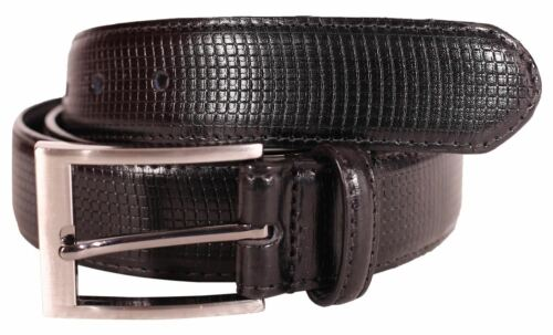 New Mens 35mm Check Pattern Pin Buckle Black Genuine Leather Belts S-3XL