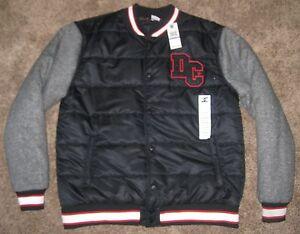 0f4de3ce0e8972 NEW XXL Mens DC Shoes Varsity Fleece Button Jacket Black Charcoal ...