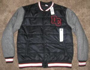 1615ad5c02a980 NEW XXL Mens DC Shoes Varsity Fleece Button Jacket Black Charcoal ...