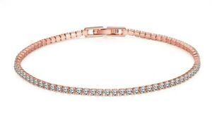 14K-Rose-Gold-Plated-Bracelet-Made-with-Swarovski-Crystals-Link-Snap-Lock